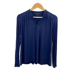 Banana Republic Blue V Neck Blouse Ruffles Size XS